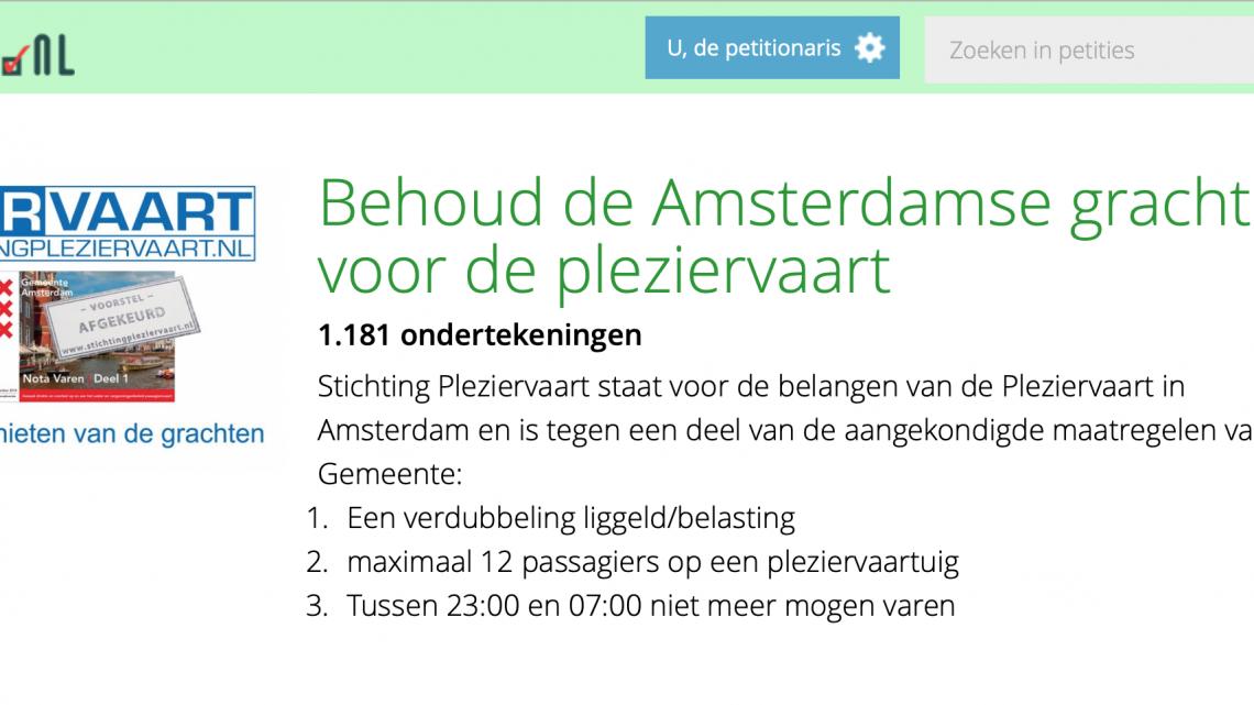 Petitie tegen aangekondigde maatregelen Pleziervaart Amsterdam